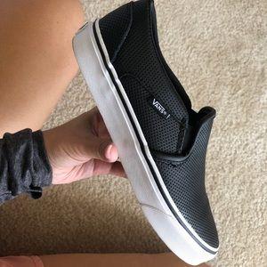 Black Perf Leather Slip- on vans (womens)